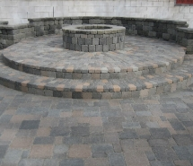 Country manor Wall Raised Patio Firepit