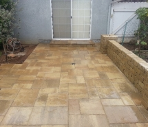 Patio with Weston Seating Wall